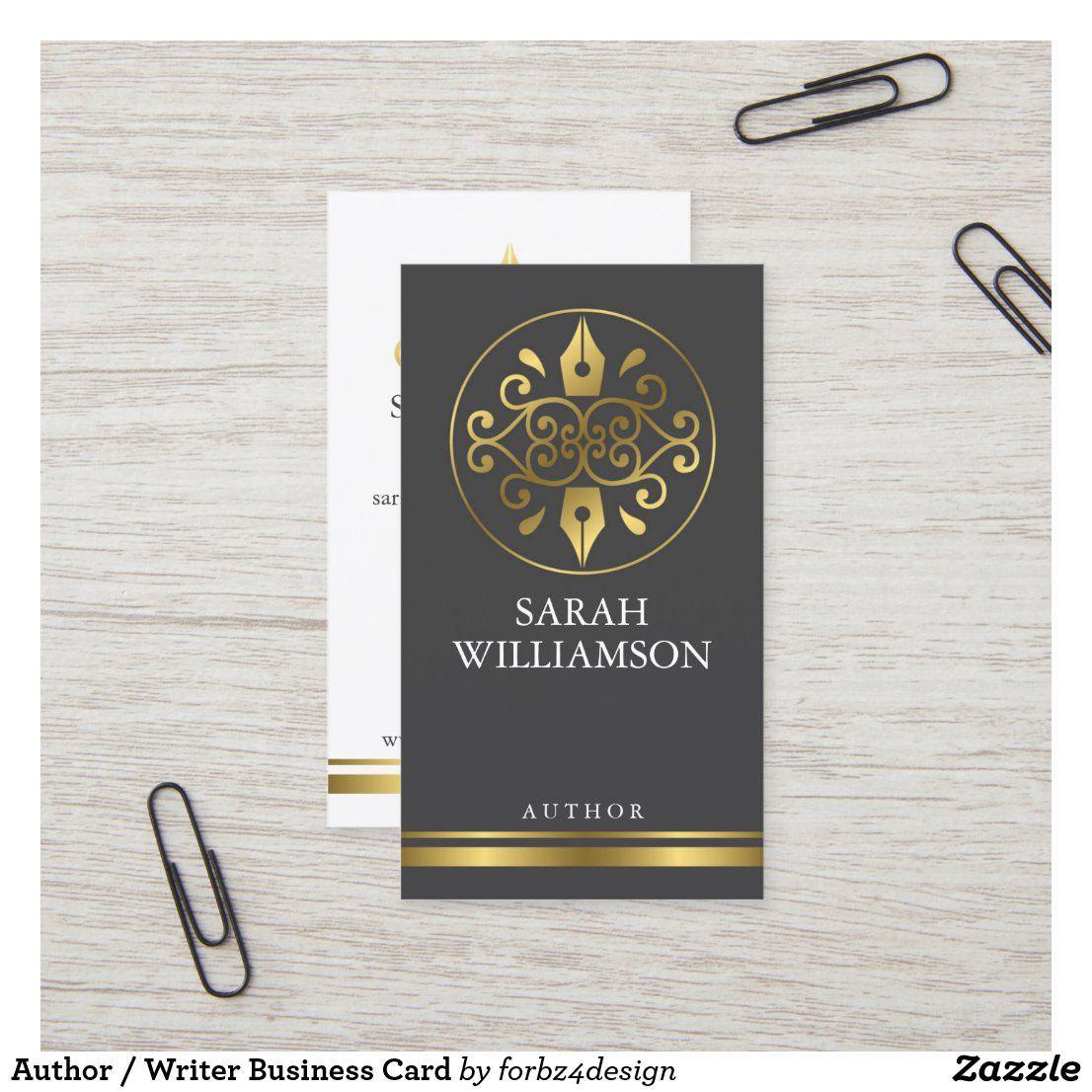 Author / Writer Business Card   Zazzle.com   Writer ...