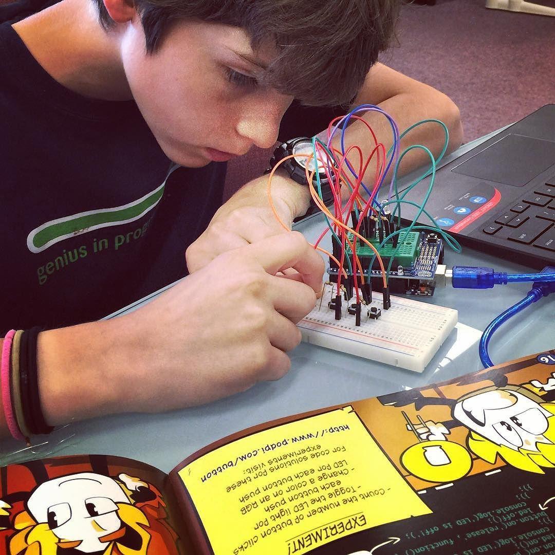 Genius in progress kids learning electronics makers