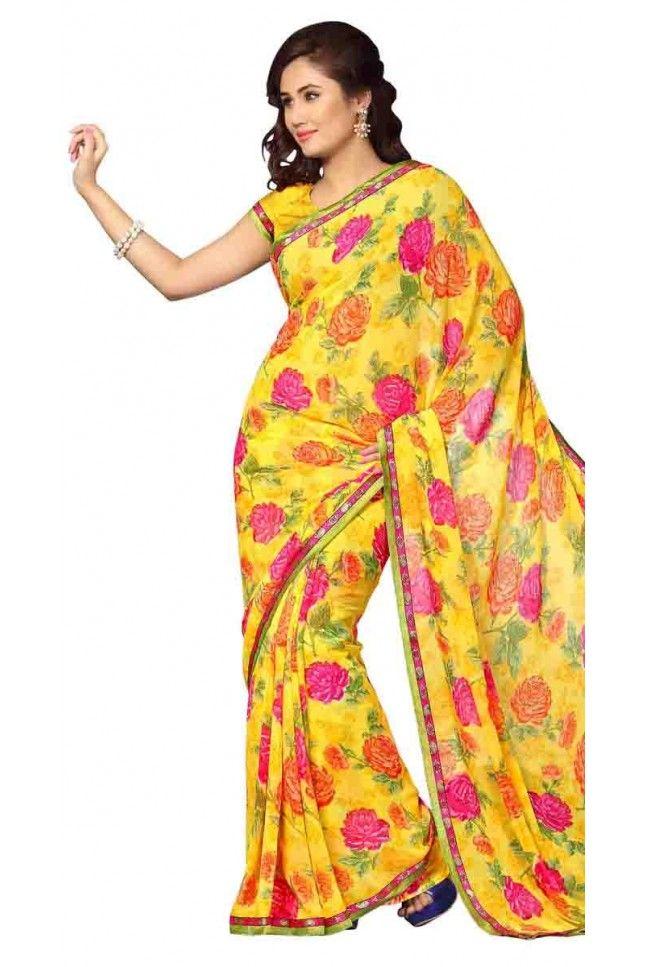 Slick Yellow Georgette Printed Saree