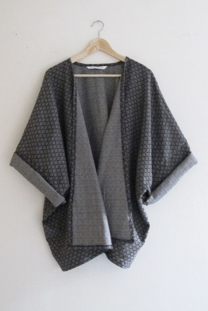 Bohemian Navy Blue Diamond Print Woven Winter Kimono Cardigan ...