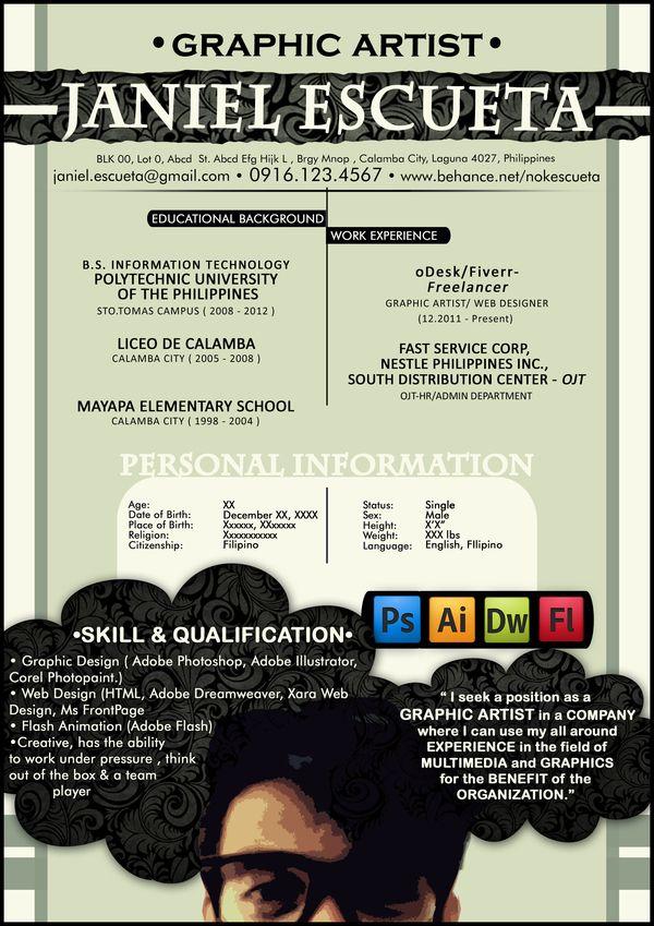 Creative Resume by Janiel Escueta, via Behance DESIGN - flash animator sample resume