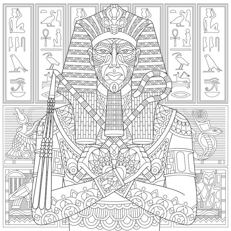 Vector Stylized Ancient Pharaoh And Egyptian Symbols Hieroglyphs On The Background Freehand Sketch For Adult Anti Stress Coloring Book Page With Doodle
