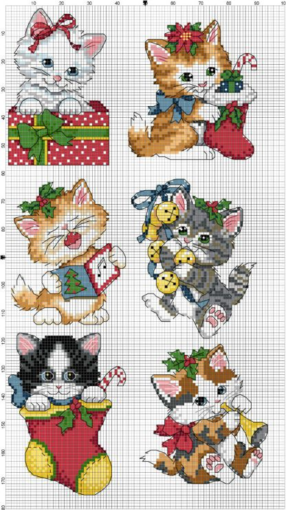 Gatitos navideños | Navidad_punto de cruz | Pinterest | Gatos ...