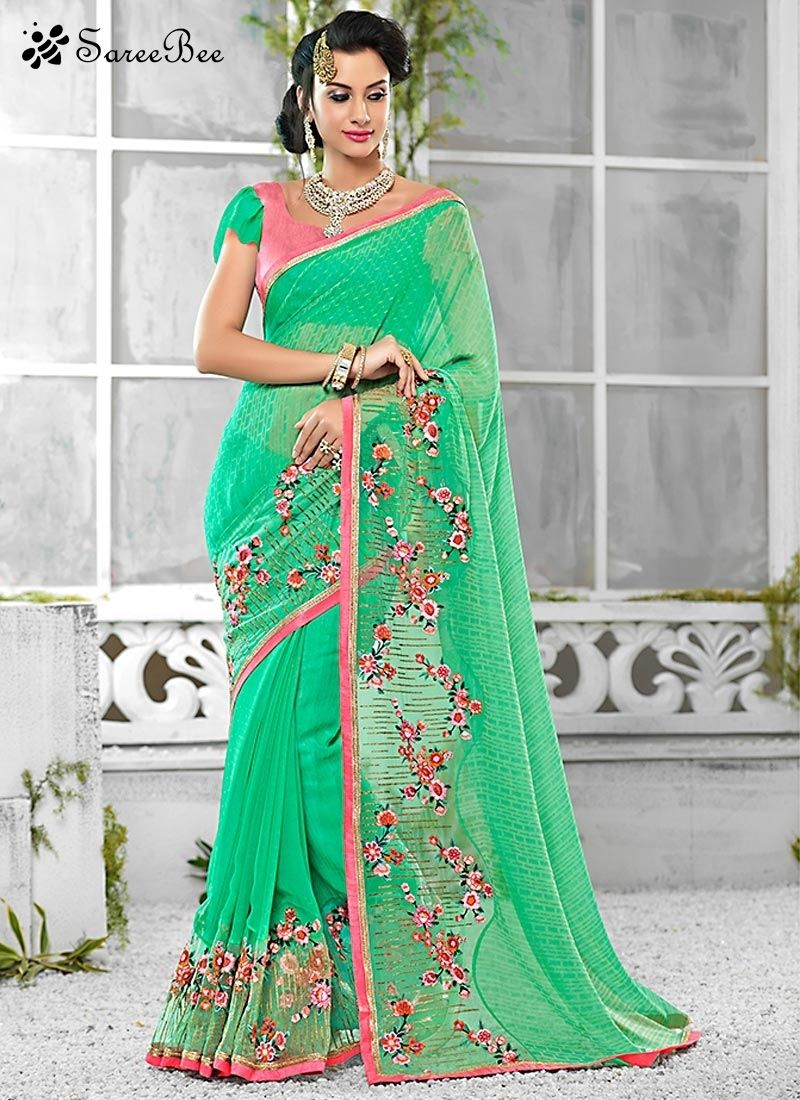 Pretty Green Georgette Trendy Saree For More Information ...