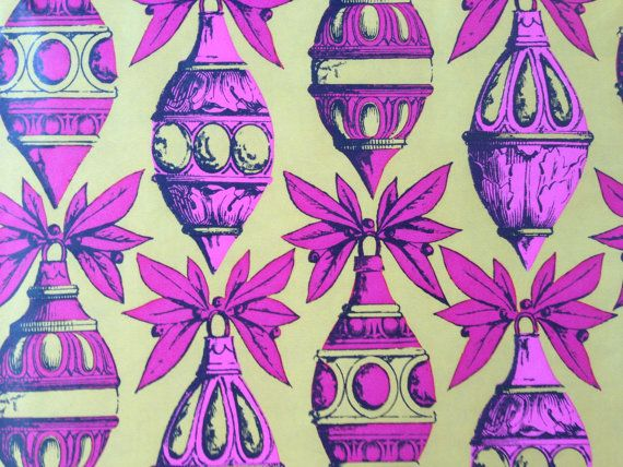 Vintage Christmas Gift Wrapping Paper  - Pink and Mustard Yellow Christmas Ornaments - Pink Christmas - 1 Unused Full Sheet Gift Wrap