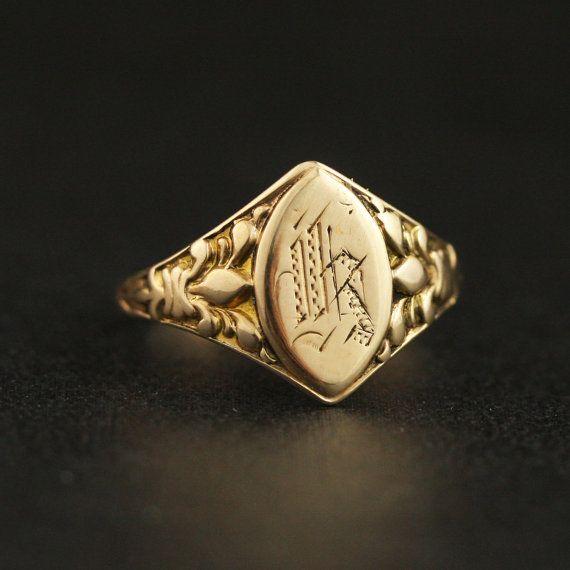 Victorian Letter K Signet Ring With Fleur De Lys In 10k Yellow Gold Signet Ring Signet Rings