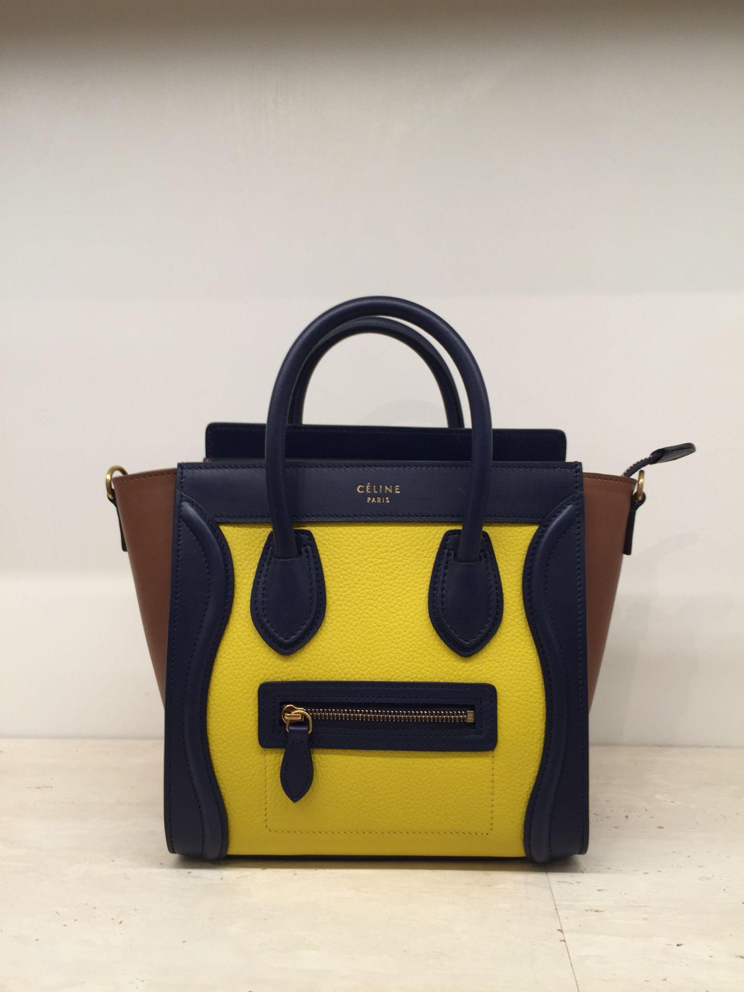 celine nano luggage tote handbag tri color yellow brown black spring