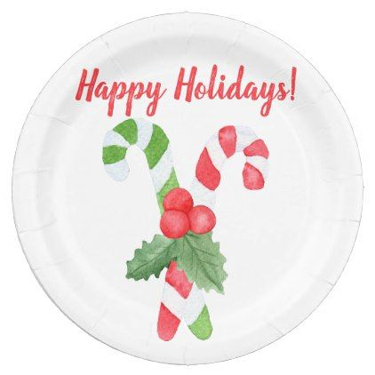 Watercolor Candy Cane Christmas Paper Plate  sc 1 st  Pinterest & Happy Holidays! | Watercolor Candy Cane Christmas Paper Plate ...