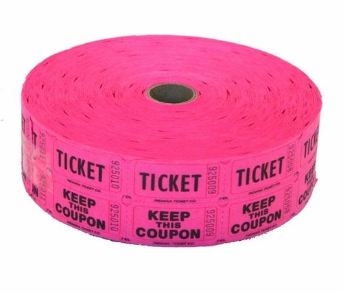 fuchsia double raffle ticket roll