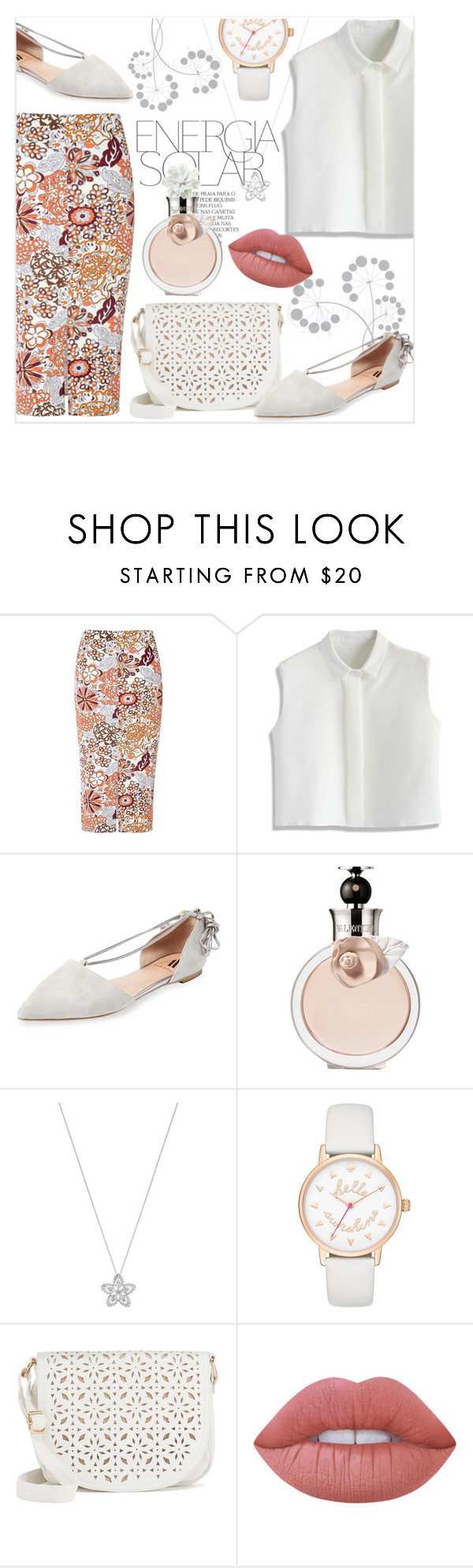 """""""New retro"""" by cilita-d ❤ liked on Polyvore featuring Glamorous, Magdalena, Chicwish, Ava & Aiden, Valentino, Lalique, Kate Spade, Under One Sky, Lime Crime and white"""
