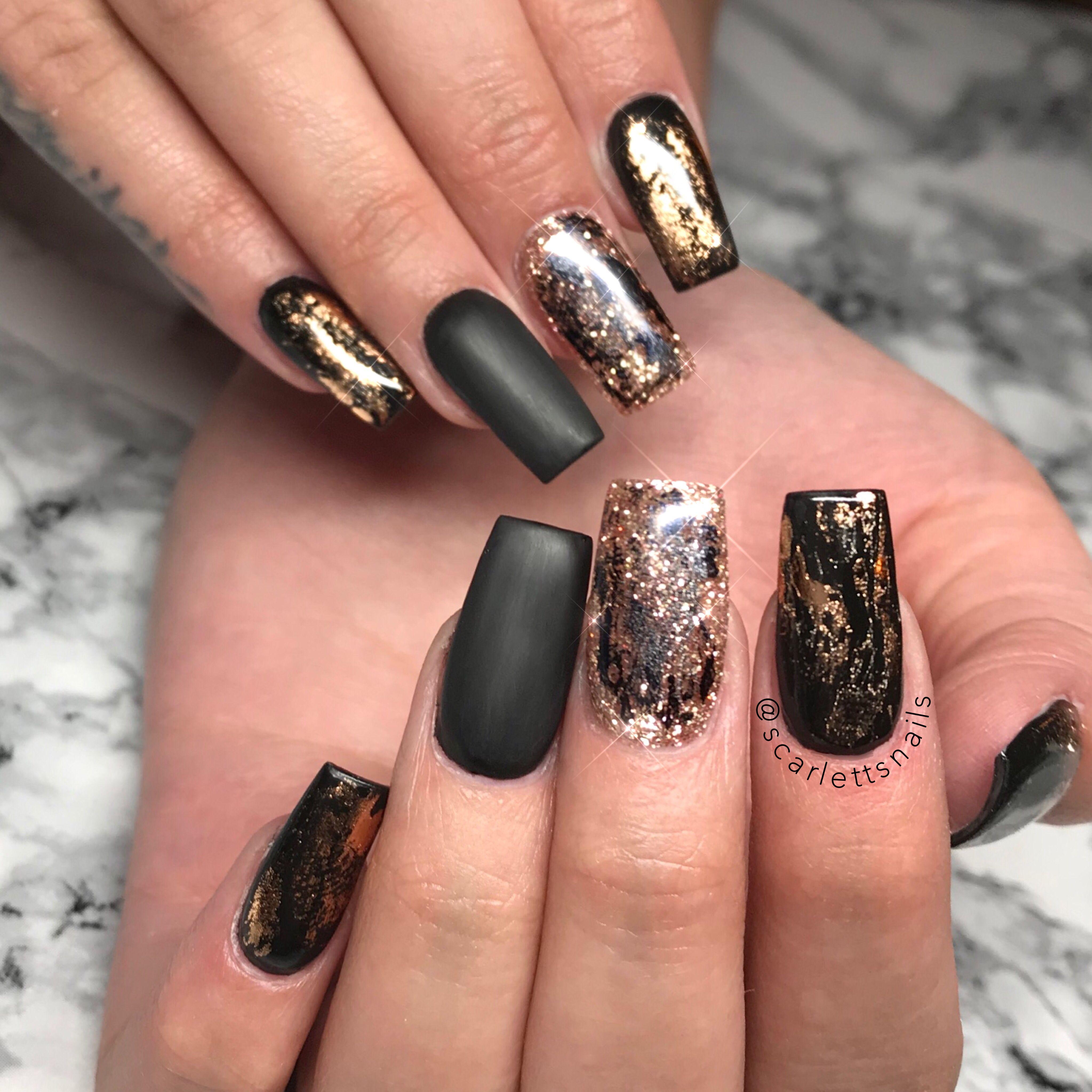Scarlettsnails Matte Black Rose Gold Long Square Gel Nails Matte Nails Design Square Gel Nails Rose Gold Nails