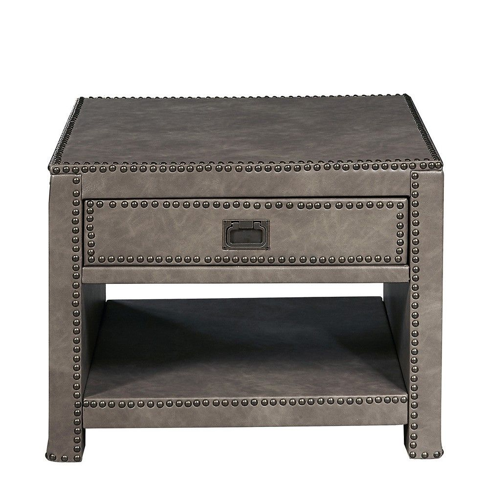 Alcott Industrial Style Square Faux Leather Trunk Table Gray