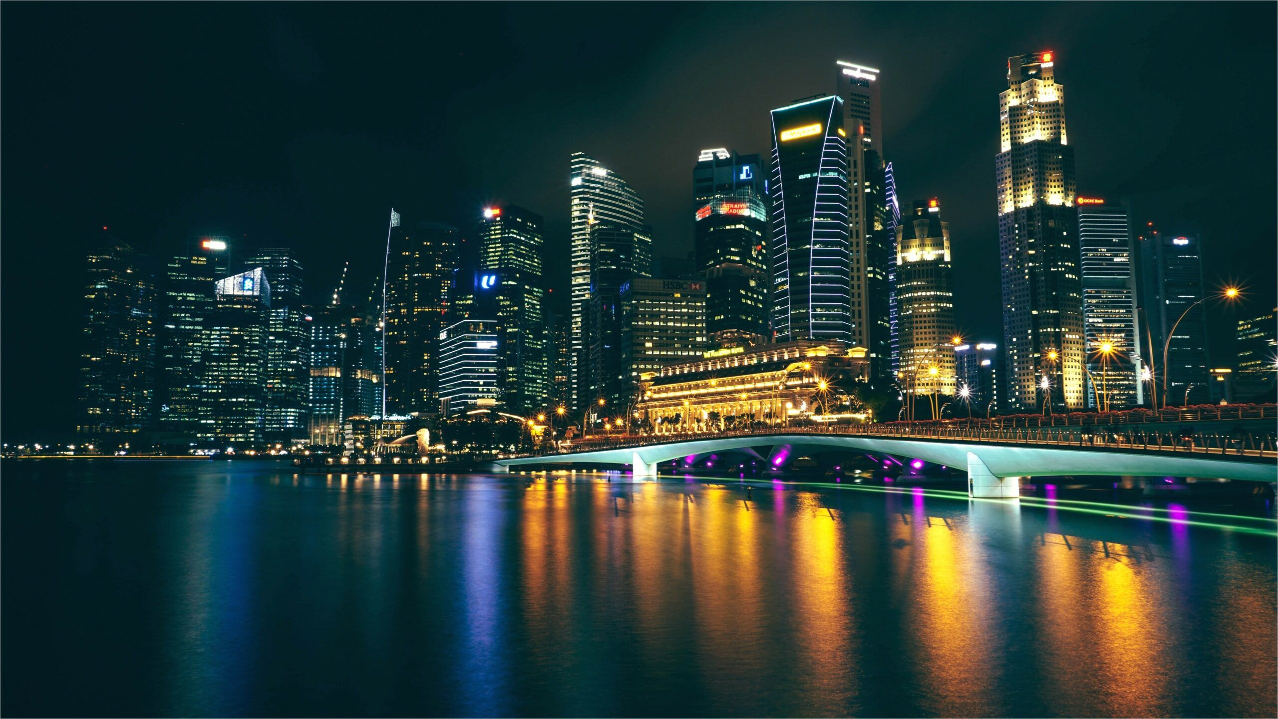 4k City Night Wallpaper In 2020 Night City City Lights At Night Singapore Photos