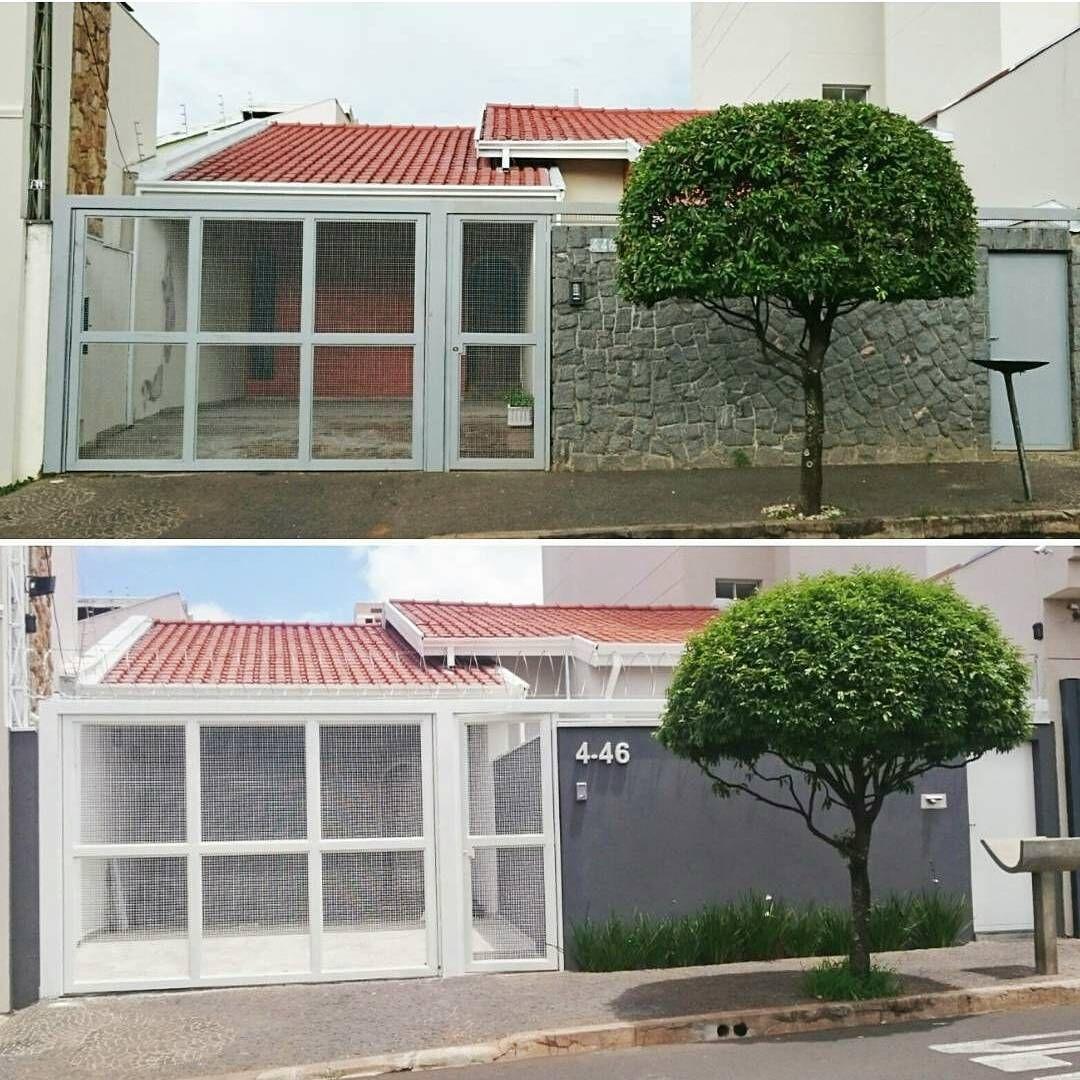 Antes e depois da nossa fachada casa reforma home diariodereforma bauru flores tree - Reforma de casas ...