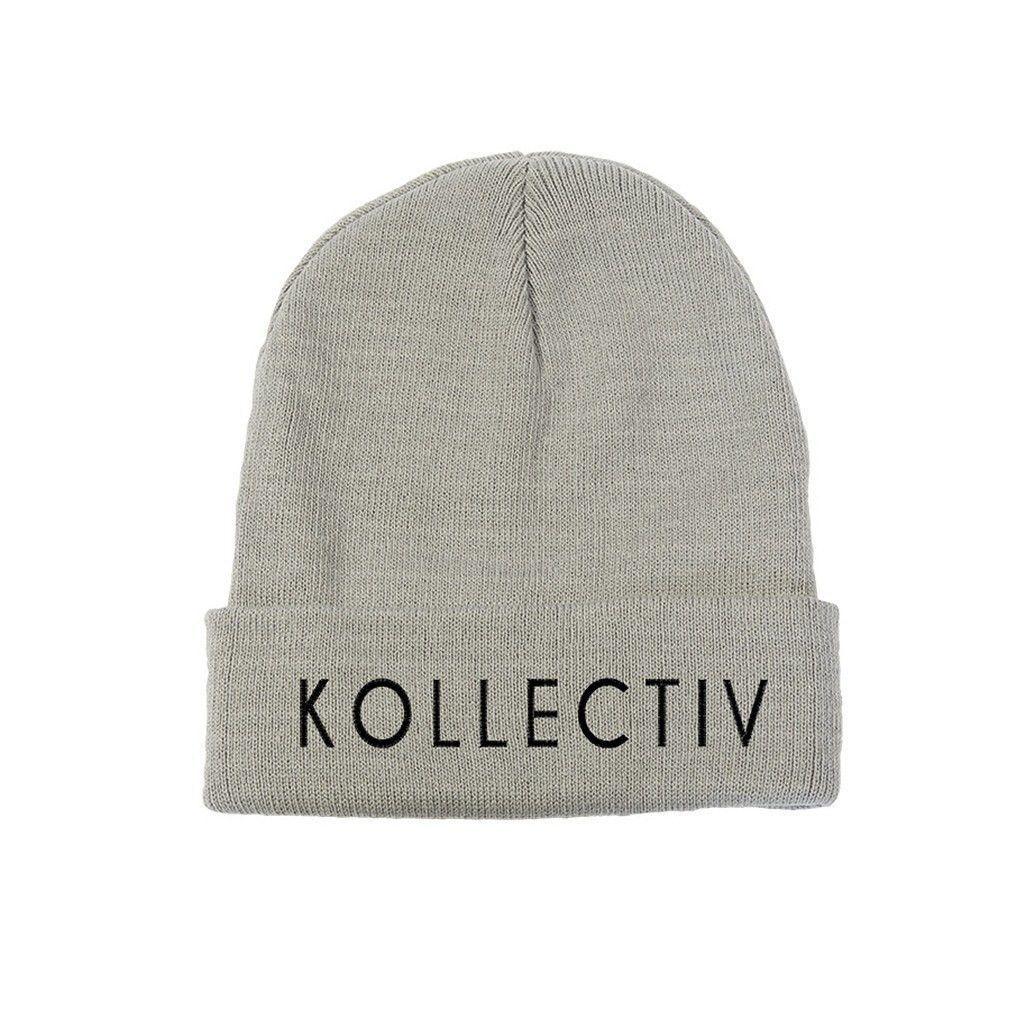 "Kollectiv ""Wordmark"" Unisex Knit Beanie 12"" Fold (Gry/Blk)"