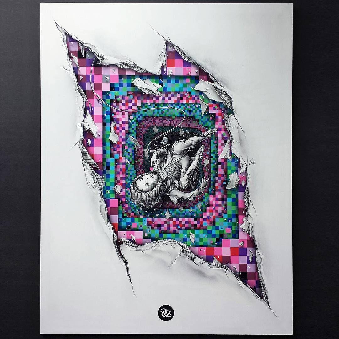 Pez On Instagram Motherboard Paint Pencils On Coated Wood Size 60x80cm Pez Artwork Painting Doodle Art