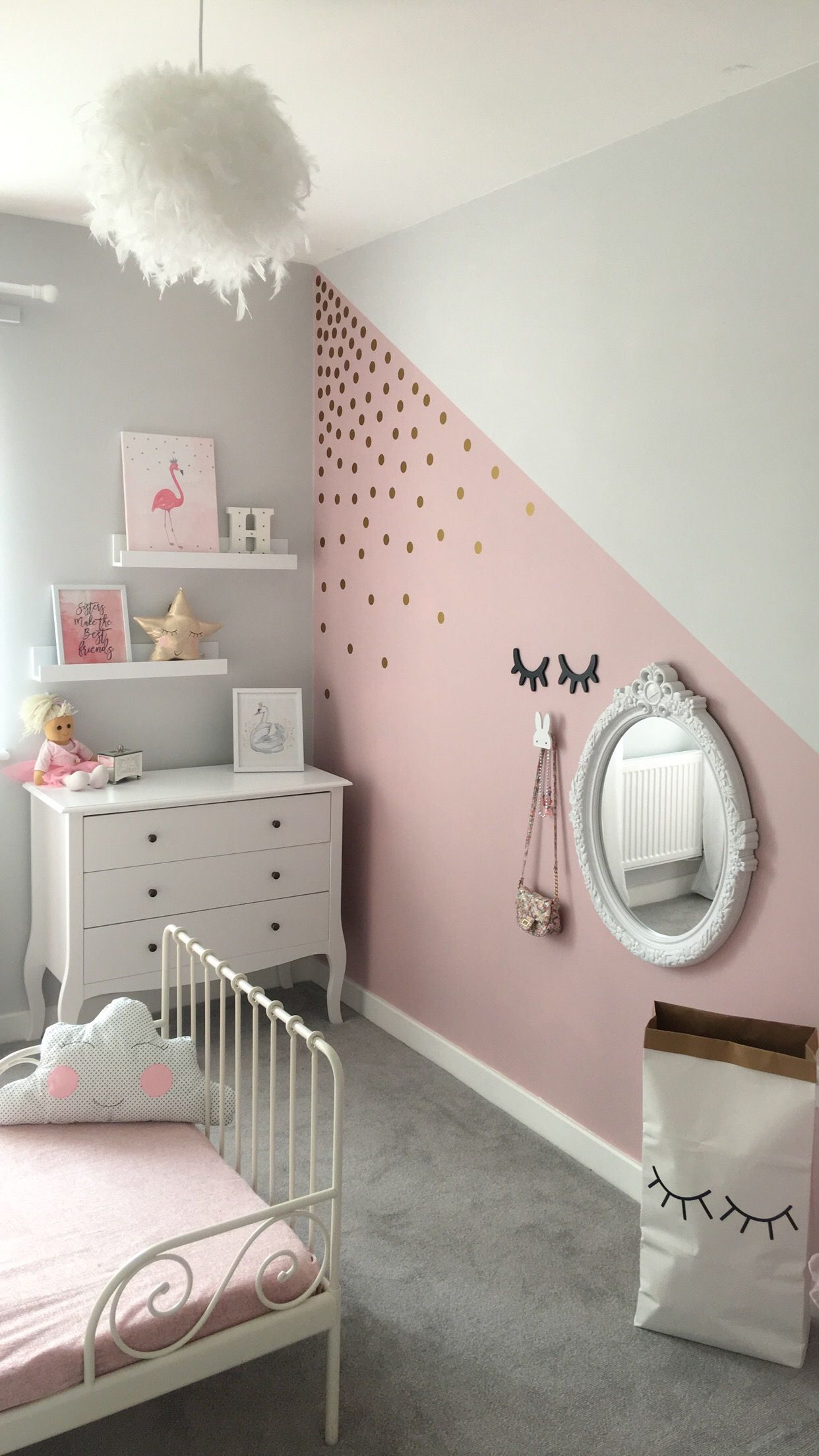 Kids Room Wallpaper Designs: Girls Bedroom Ideas Polka Dot