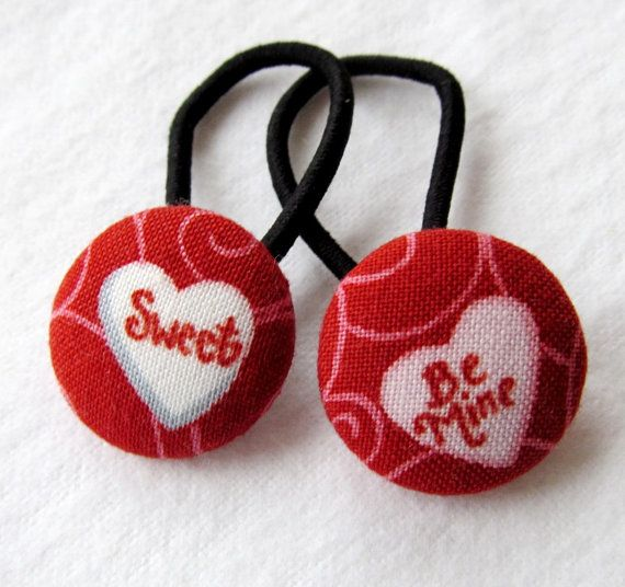 Valentine's Day Ponytail holders  Be Mine Sweet by MomNMiaQuilts