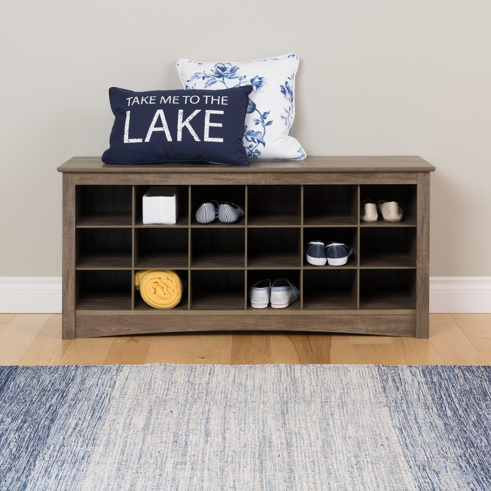 The Gray Barn Waggoner Drifted Grey Cubbie Storage Bench Drifted