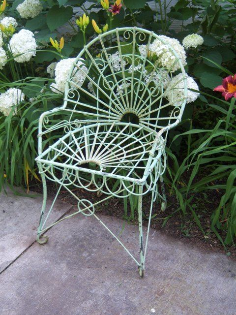 Wrought Iron Adult Antique Garden Style Chair Heavy Patio