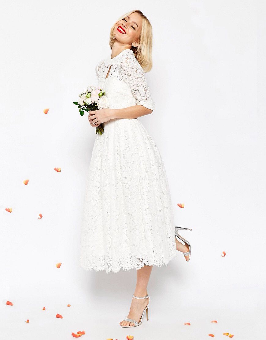 Asos bridal lace bandeau midi prom dress with crop jacket wedding