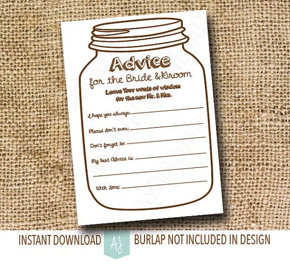 Advice Cards for the Bride and Groom- Instant Download ...