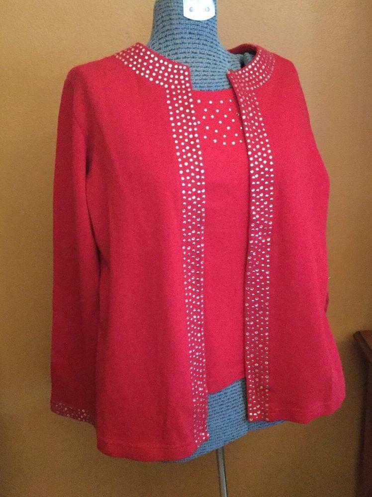 Quacker Factory Women's Mock Cardigan Sweater Set L Red Embellished