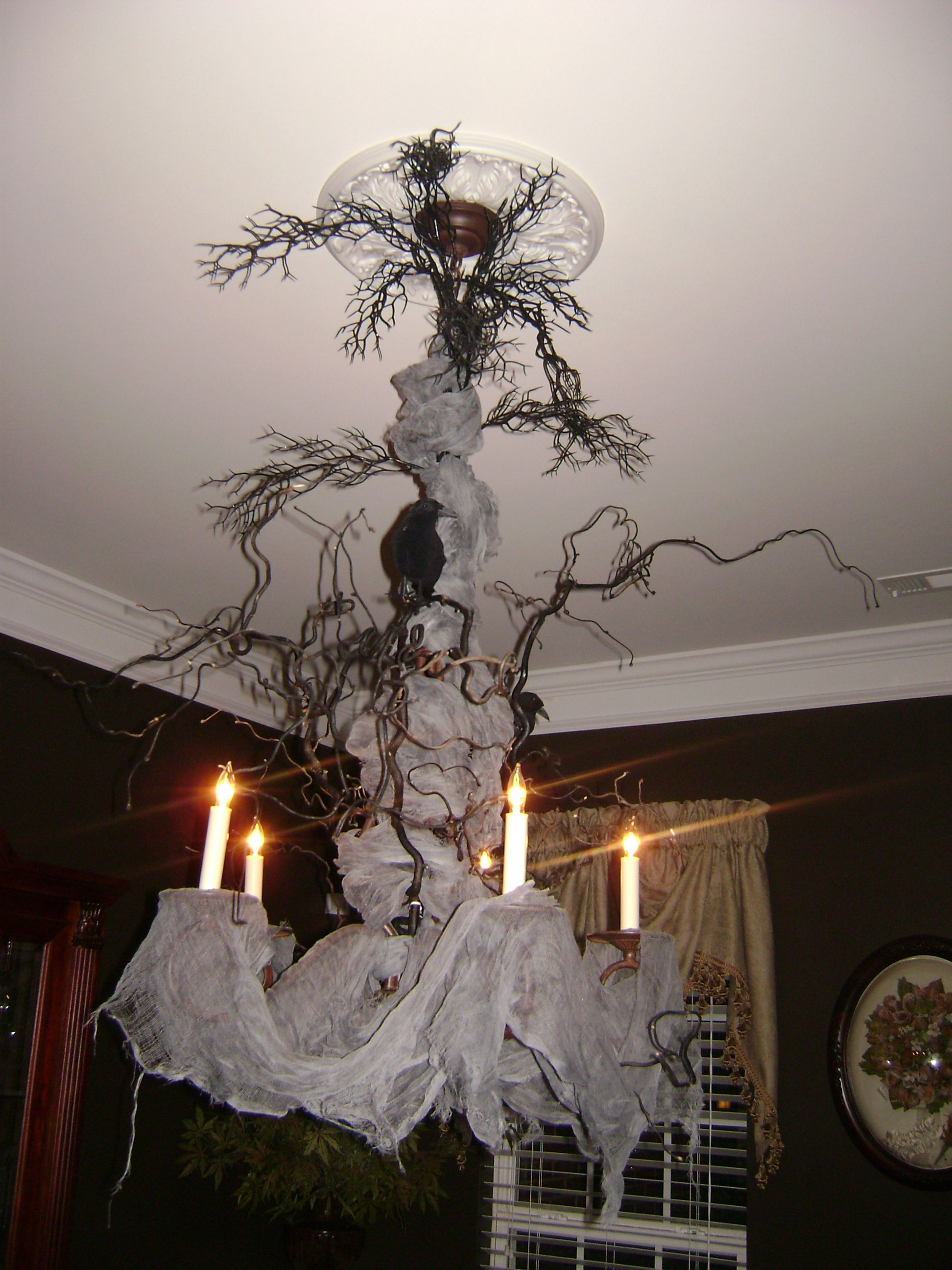 Cool Chandelier Ideas Creepy Halloween Chandelier Very Cool Cheesecloth Dried