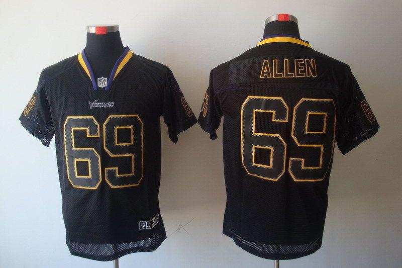 New Men s Nike NFL Minnesota Vikings  69 Jared Allen Lights Out Black Elite  Jersey The a9f9dd864