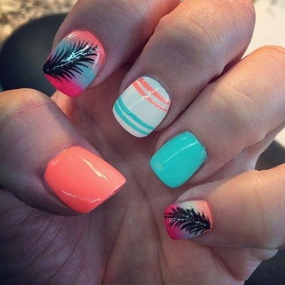 Neon Nail Design With Feather Nails Art Desgin Pinterest Neon