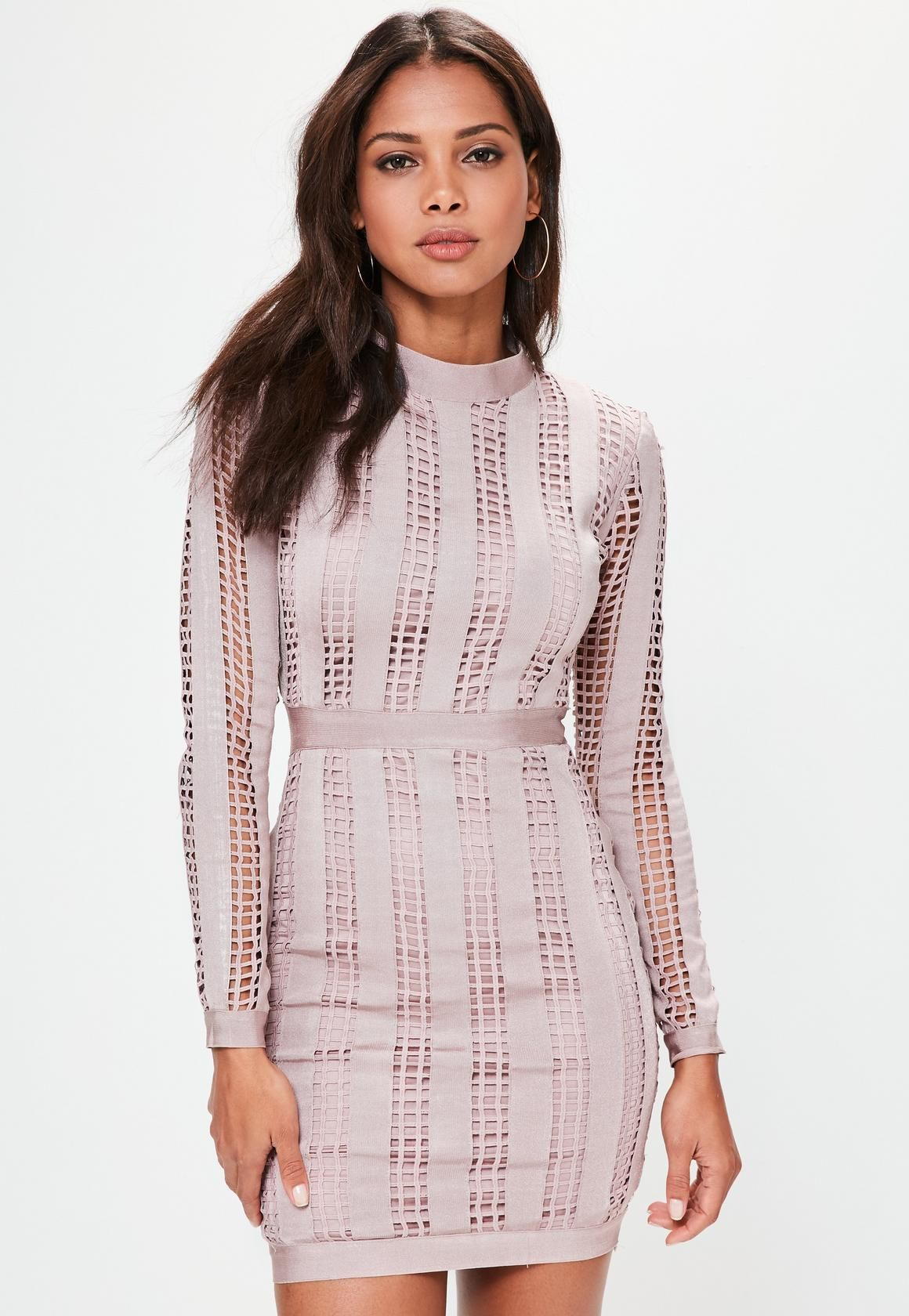 Pink high neck long sleeve bandage dress missguided fashion