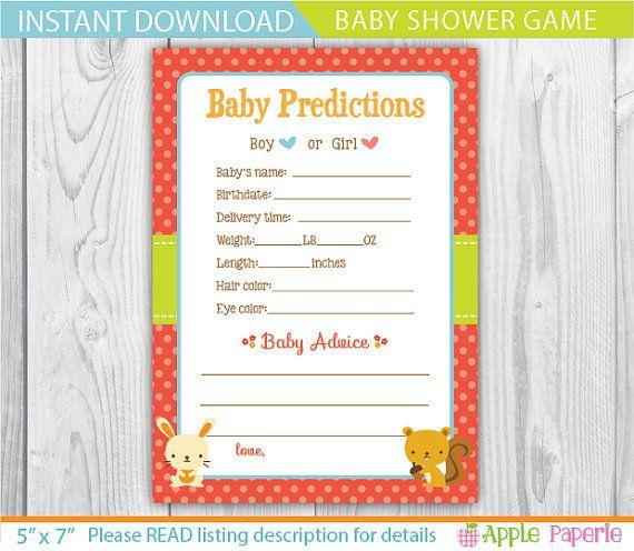 Woodland Baby Shower Games / Baby Shower Prediction Cards / Baby Prediction  Card / Baby Stats And Prediction Game / Baby Prediction Game