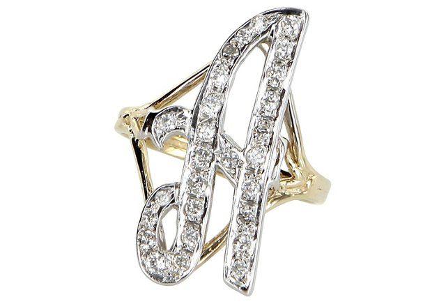 Letter A Diamond Initial Script Ring