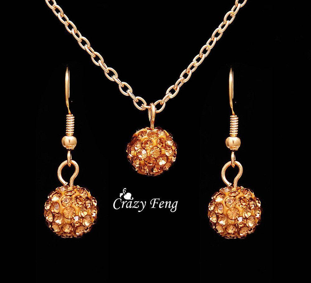 Fashion women jewelry sets rhinestone ball necklace earrings dangle