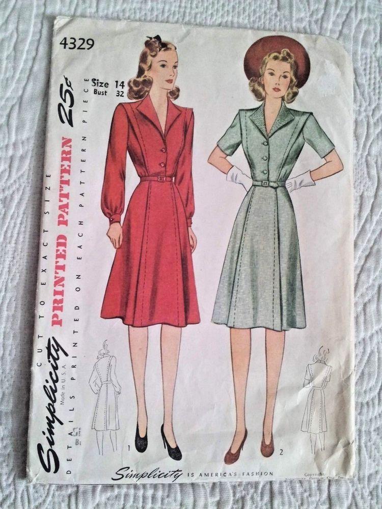 Vtg 1940s Dress Pattern Simplicity 4329 Size 14 Bust 32 Wide Collar Belt Tucks Simplicity 1940s Dress Pattern Vintage Outfits Simplicity Patterns Dresses