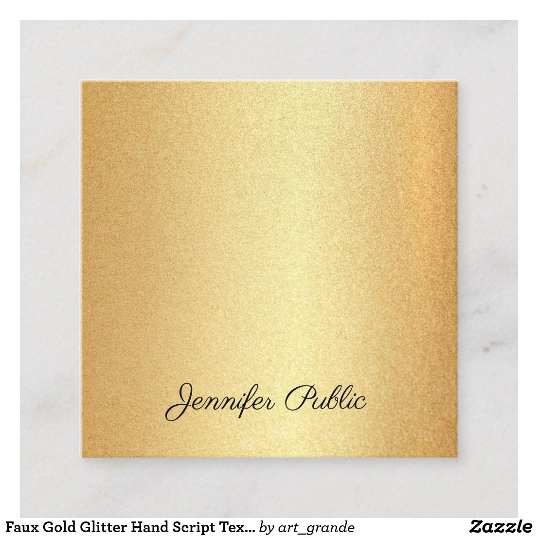 Faux Gold Glitter Hand Script Text Calligraphy Top Square