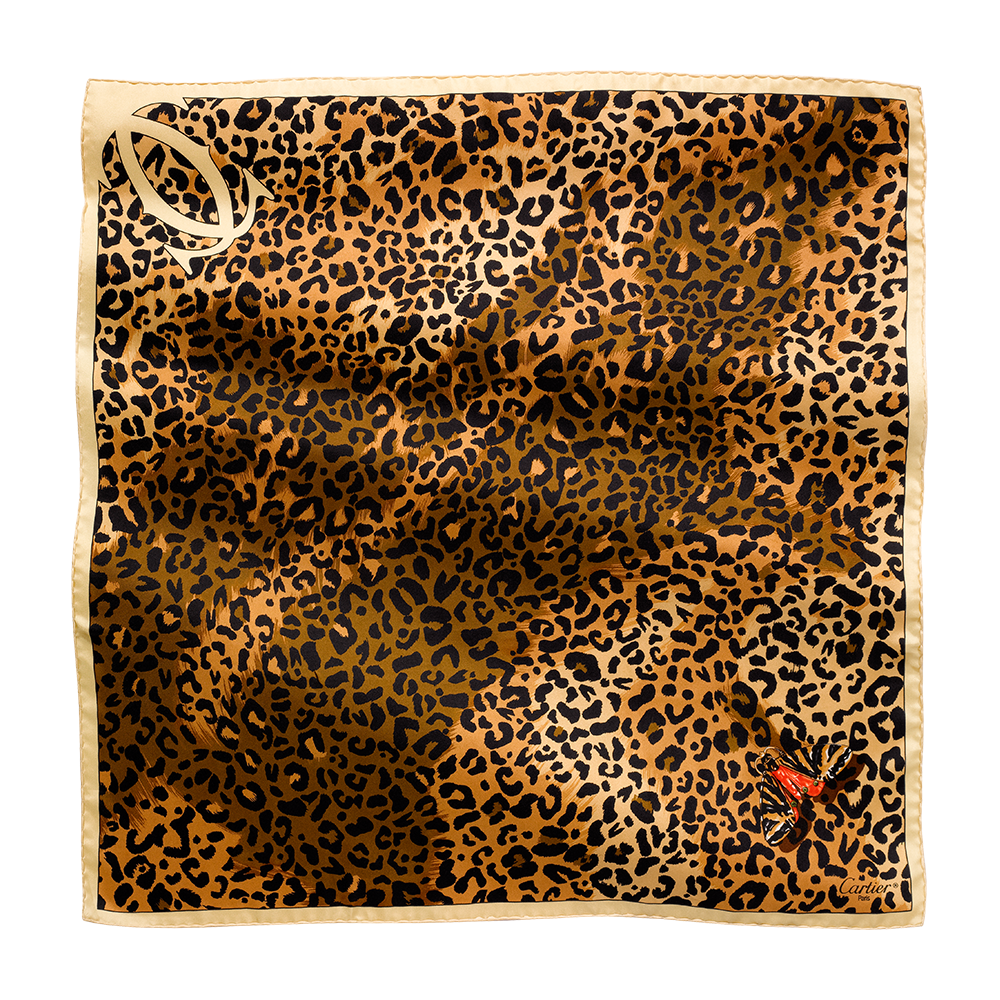 Scarf 70 x 70, panther and butterfly motif - Beige twilled silk - Fine Scarves for women - Cartier