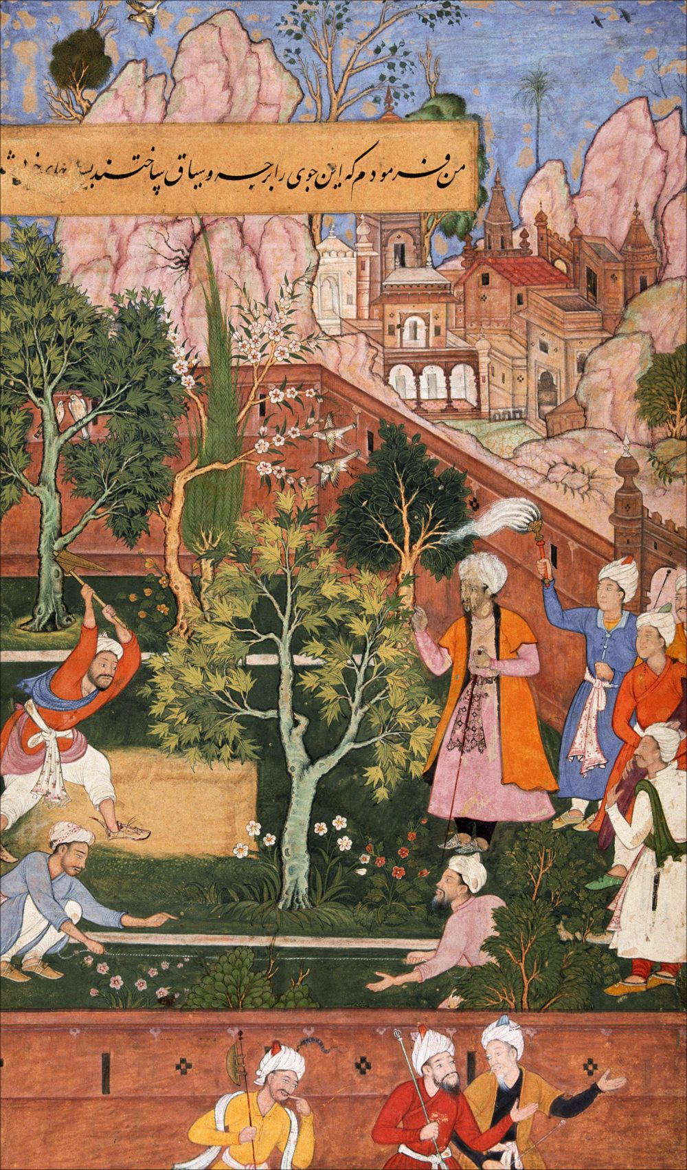 Babur watches the bed of the aryk being straightened in his garden ...