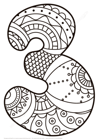 Number 3 Zentangle coloring page from Zentangle Numbers