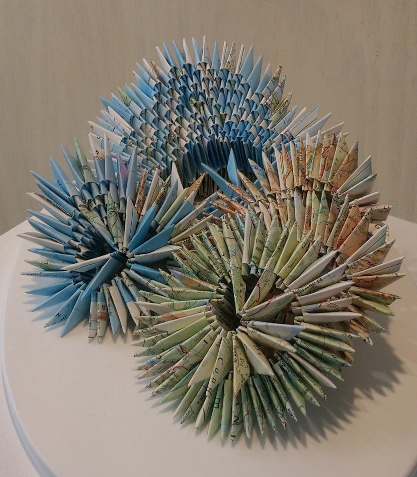 Atlas page origami sculpture