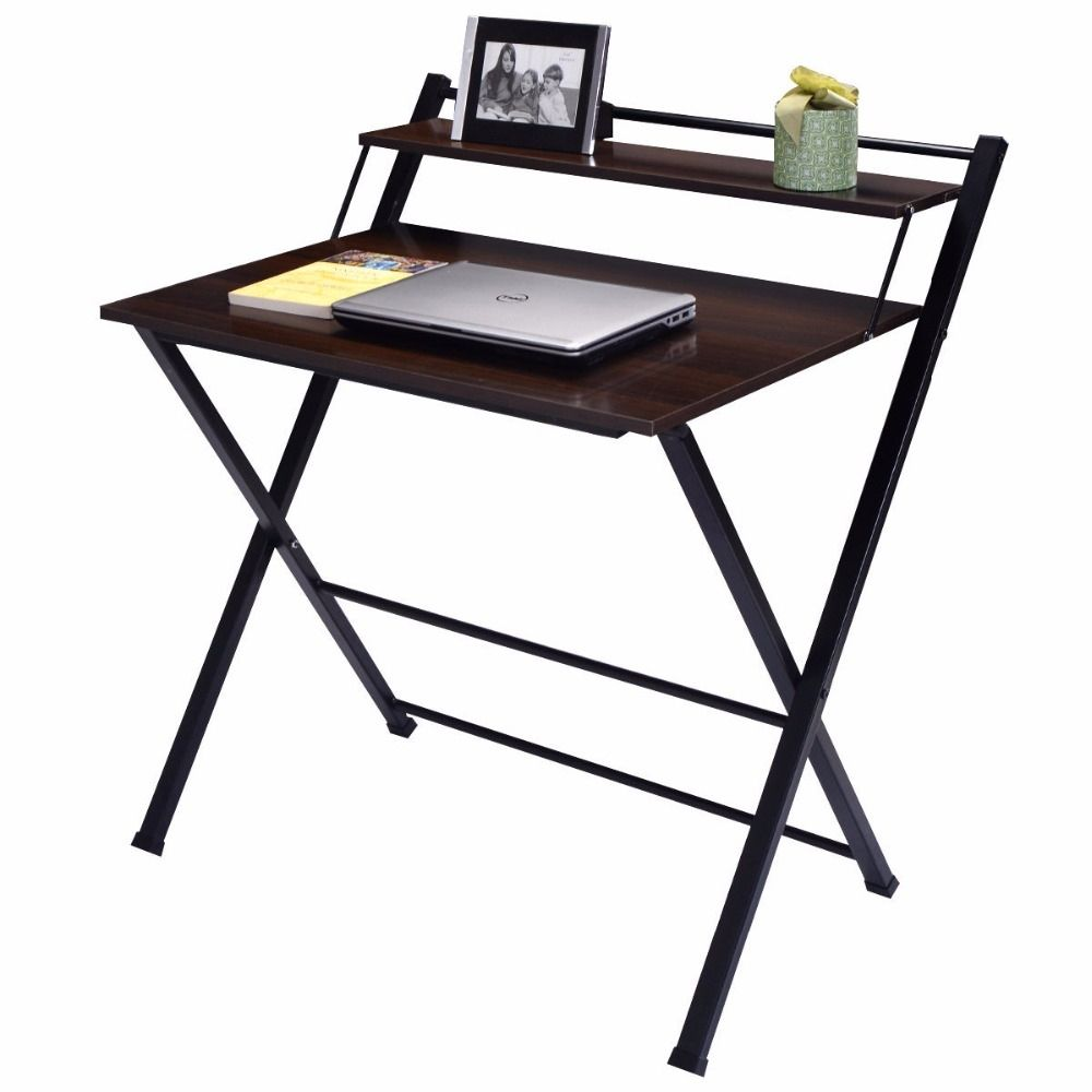 Giantex 2 Tier Folding Computer Desk Home Office Furniture Modern