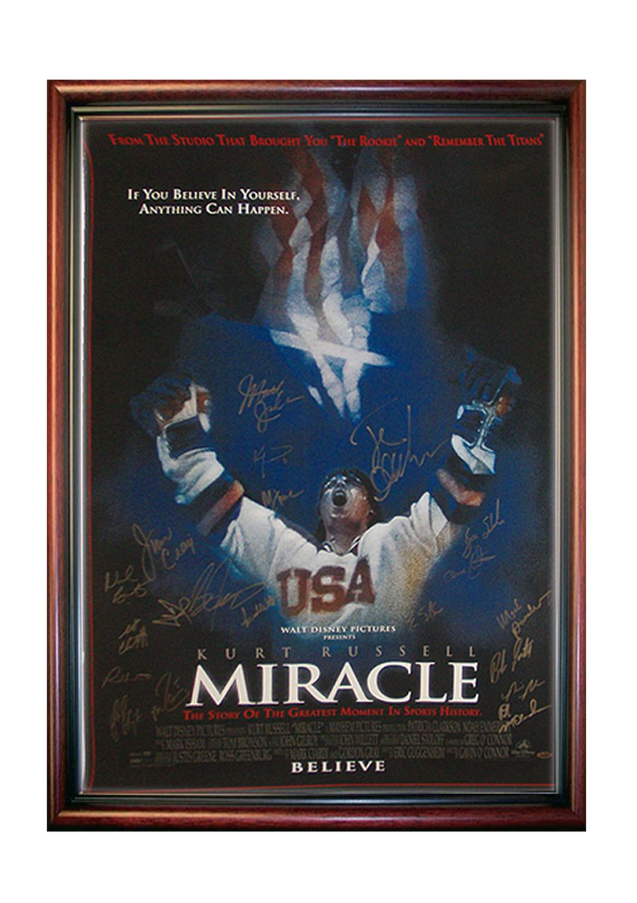 1980 usa hockey team signed quotmiraclequot movie poster