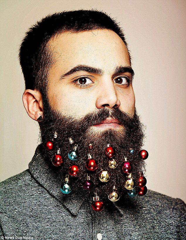 Hipsters decorate their facial hair with candy canes and mistletoe ...