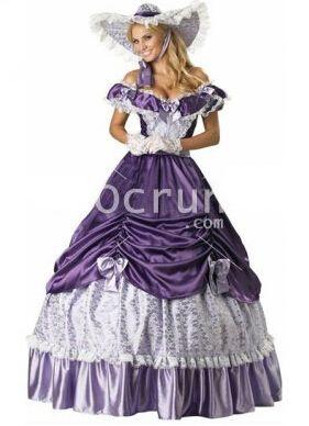 Weinlese-lila Spitzen viktorianischen Lolita Kleid
