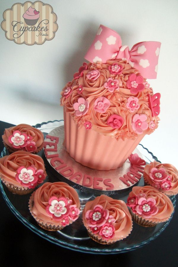 Pink Giant Cupcake with Candy Melts Shell