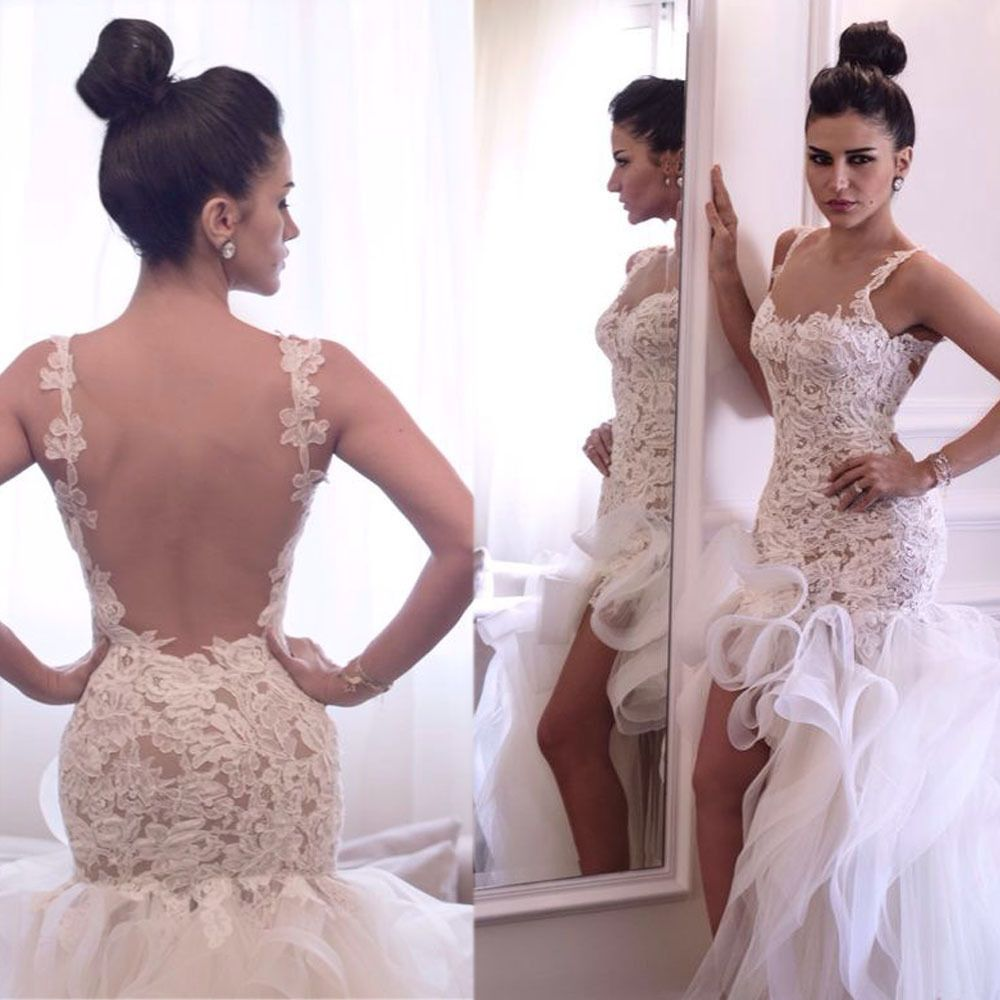 Wedding dress short in front with long train  high low wedding dressesbackless bridal dresses short front