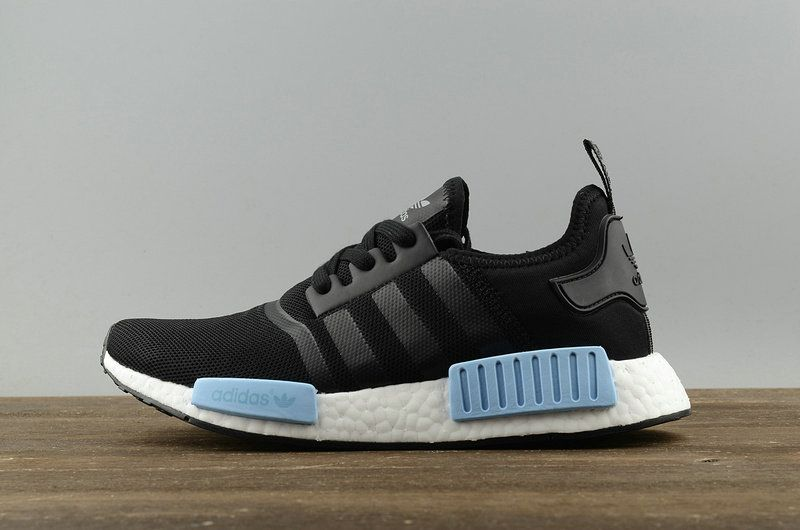 ... 2018 real adidas originals nmd r1 pk core black noir icey blue mint  by1913 youth big 767fc32c446f