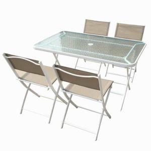 Table de jardin en acier et verre et 4 chaises pliantes ...