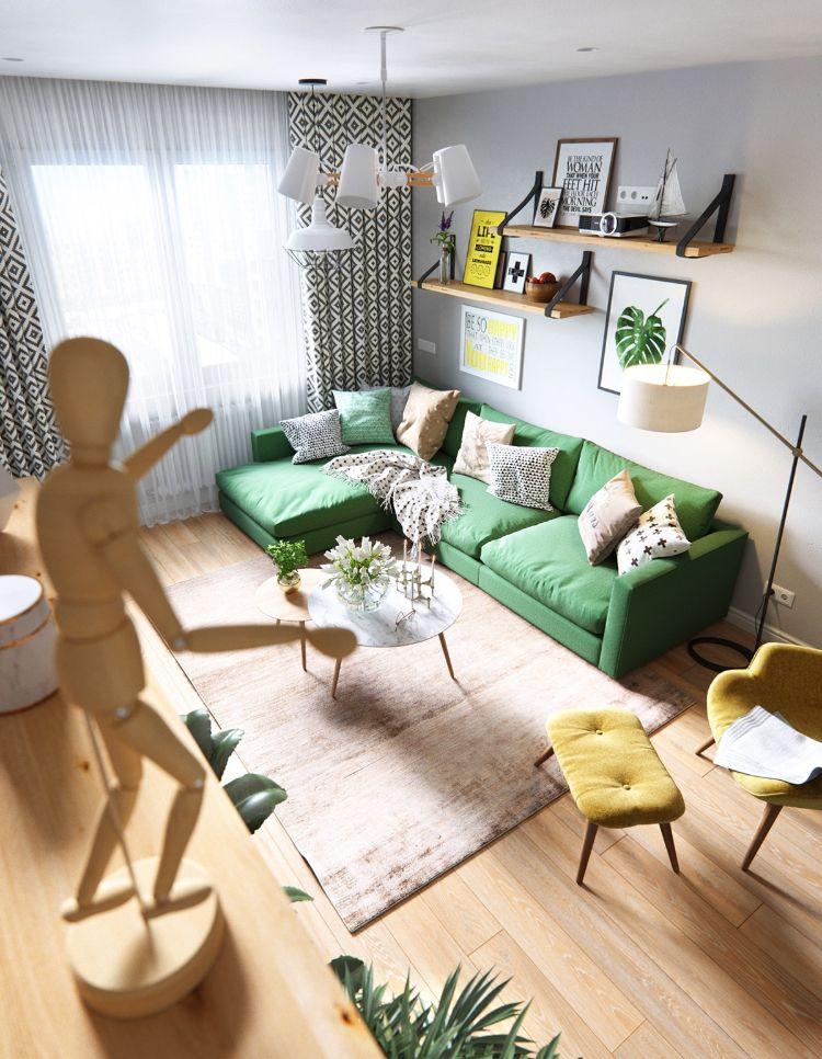 Farbgestaltung Grün Und Gelb Möbel Wohnzimmer #interiordesign