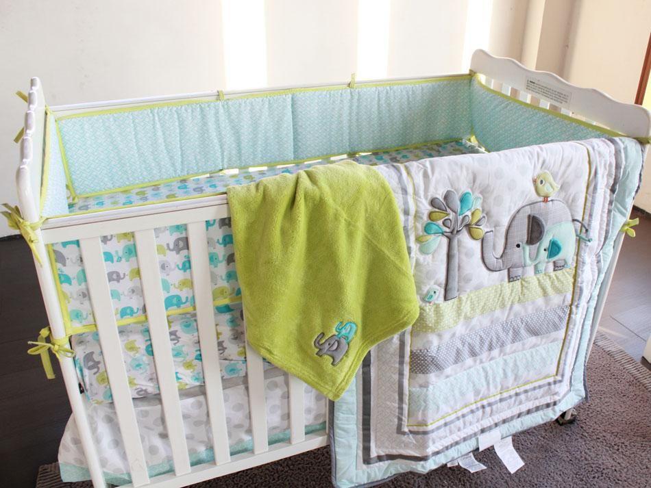 New 8 Piece Boy Baby Bedding Set Elephants Nursery Quilt Per Sheet Crib Skirt